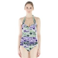 Block On Block, Purple Halter Swimsuit