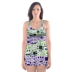 Block On Block, Purple Skater Dress Swimsuit by MoreColorsinLife