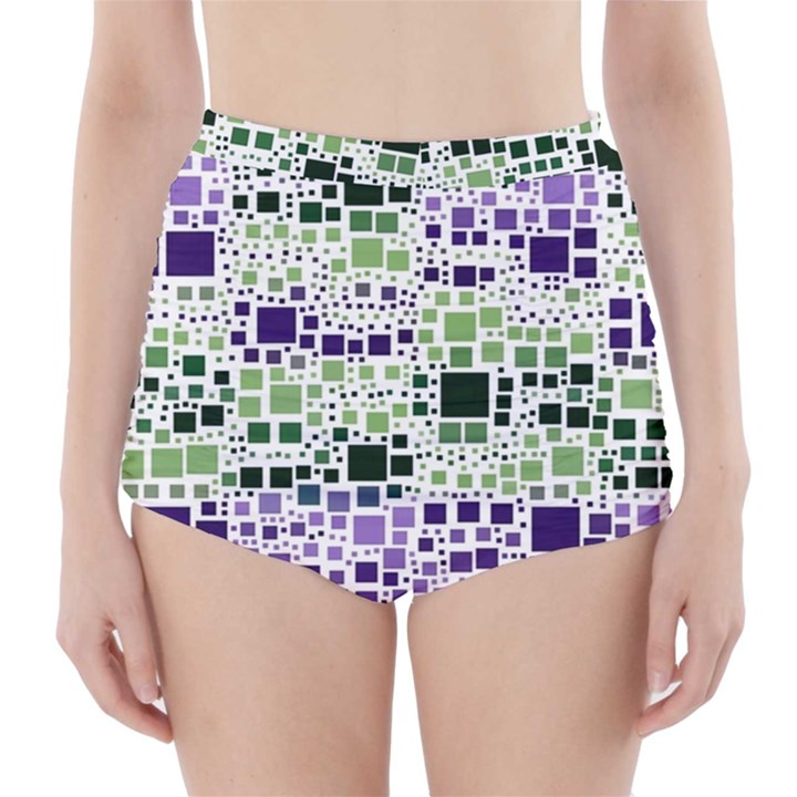 Block On Block, Purple High-Waisted Bikini Bottoms