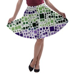 Block On Block, Purple A Line Skater Skirt