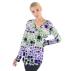 Block On Block, Purple Women s Tie Up Tee