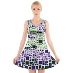 Block On Block, Purple V Neck Sleeveless Skater Dress