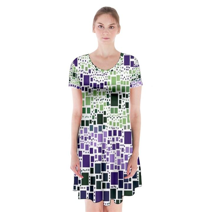 Block On Block, Purple Short Sleeve V-neck Flare Dress