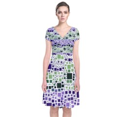Block On Block, Purple Short Sleeve Front Wrap Dress