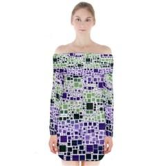 Block On Block, Purple Long Sleeve Off Shoulder Dress