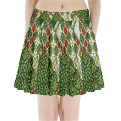 Christmas Quilt Background Pleated Mini Skirt by Zeze