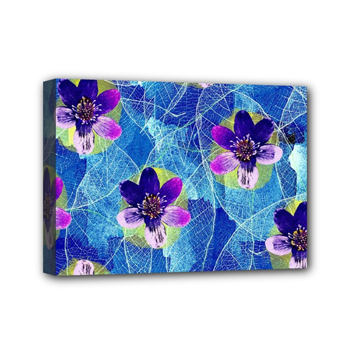 Purple Flowers Mini Canvas 7  x 5