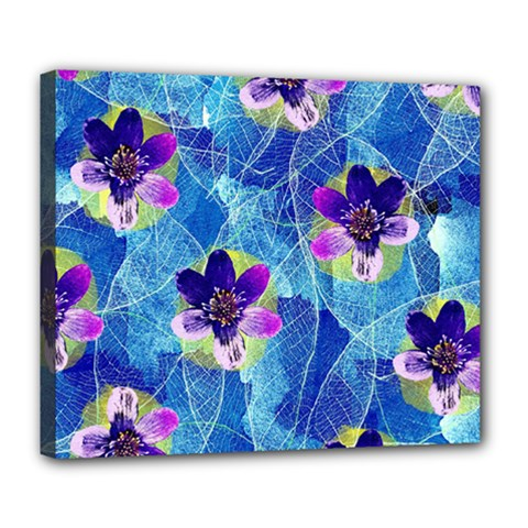Purple Flowers Deluxe Canvas 24  X 20