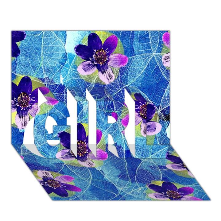 Purple Flowers GIRL 3D Greeting Card (7x5)