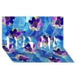 Purple Flowers BEST SIS 3D Greeting Card (8x4)