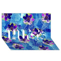 Purple Flowers Hugs 3d Greeting Card (8x4) by DanaeStudio