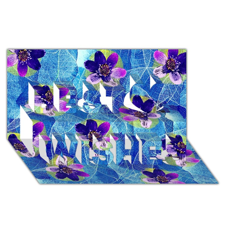 Purple Flowers Best Wish 3D Greeting Card (8x4)