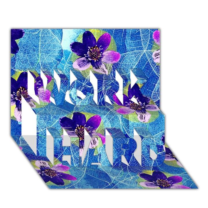 Purple Flowers WORK HARD 3D Greeting Card (7x5)
