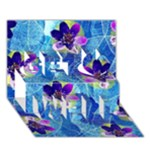 Purple Flowers Get Well 3D Greeting Card (7x5)