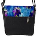 Purple Flowers Flap Messenger Bag (S) View1