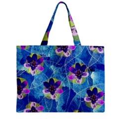 Purple Flowers Zipper Mini Tote Bag by DanaeStudio