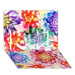 Colorful Succulents I Love You 3d Greeting Card (7x5) by DanaeStudio