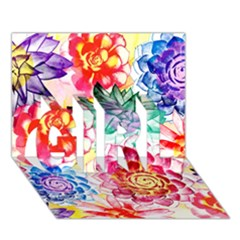 Colorful Succulents Girl 3d Greeting Card (7x5) by DanaeStudio