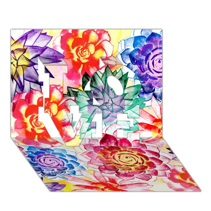 Colorful Succulents LOVE 3D Greeting Card (7x5)