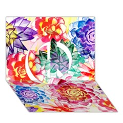 Colorful Succulents Peace Sign 3d Greeting Card (7x5) by DanaeStudio