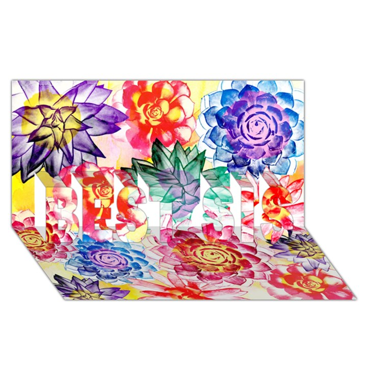Colorful Succulents BEST SIS 3D Greeting Card (8x4)