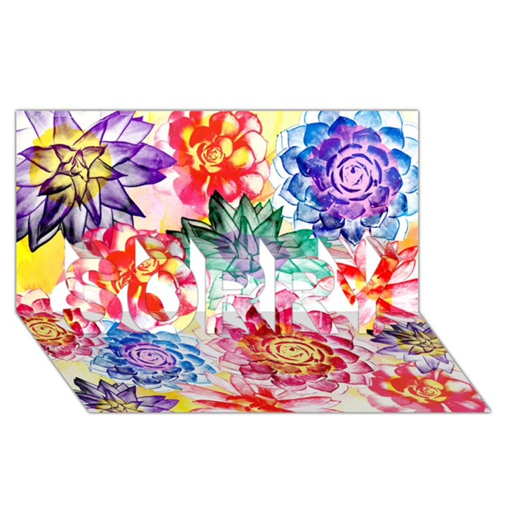 Colorful Succulents SORRY 3D Greeting Card (8x4)