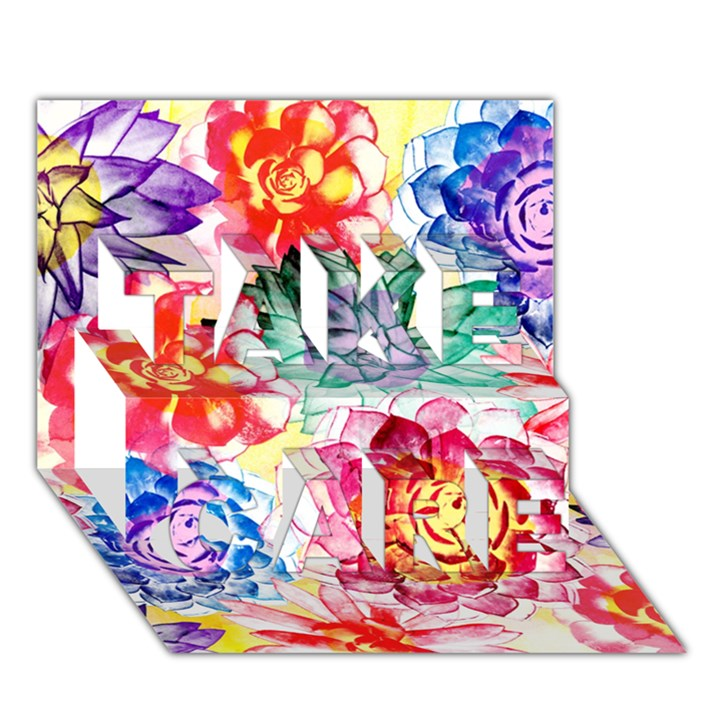 Colorful Succulents TAKE CARE 3D Greeting Card (7x5)