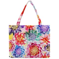 Colorful Succulents Mini Tote Bag by DanaeStudio