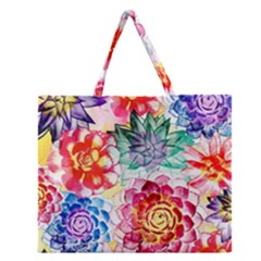 Colorful Succulents Zipper Large Tote Bag by DanaeStudio