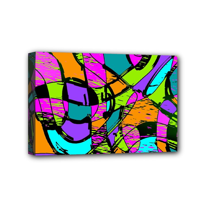 Abstract Sketch Art Squiggly Loops Multicolored Mini Canvas 6  x 4