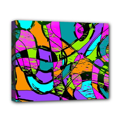 Abstract Sketch Art Squiggly Loops Multicolored Canvas 10  X 8