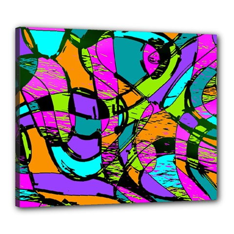 Abstract Sketch Art Squiggly Loops Multicolored Canvas 24  X 20