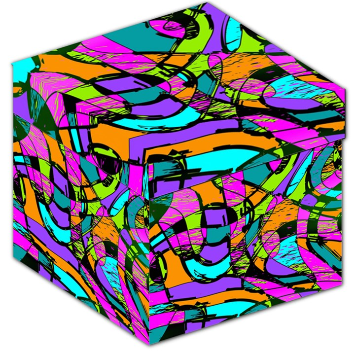 Abstract Sketch Art Squiggly Loops Multicolored Storage Stool 12