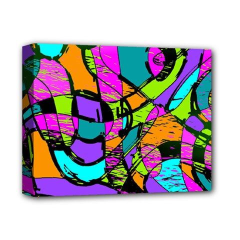 Abstract Sketch Art Squiggly Loops Multicolored Deluxe Canvas 14  X 11  by EDDArt