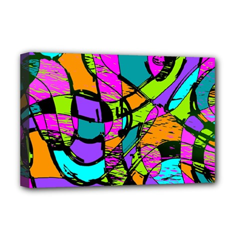 Abstract Sketch Art Squiggly Loops Multicolored Deluxe Canvas 18  X 12   by EDDArt