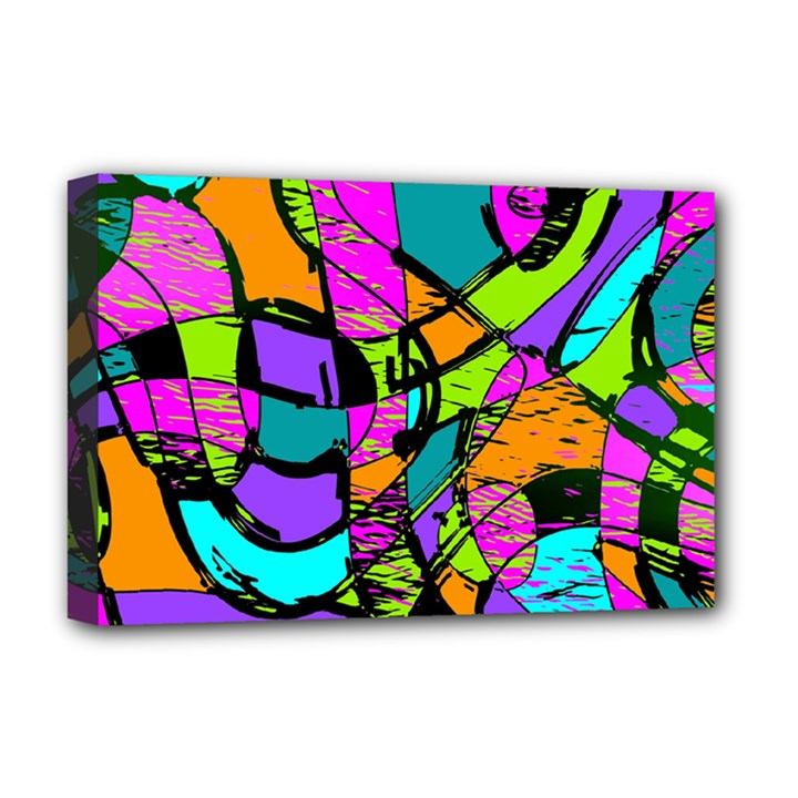 Abstract Sketch Art Squiggly Loops Multicolored Deluxe Canvas 18  x 12