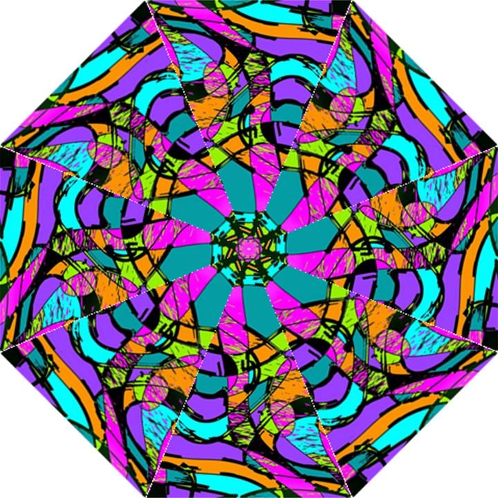 Abstract Sketch Art Squiggly Loops Multicolored Hook Handle Umbrellas (Medium)
