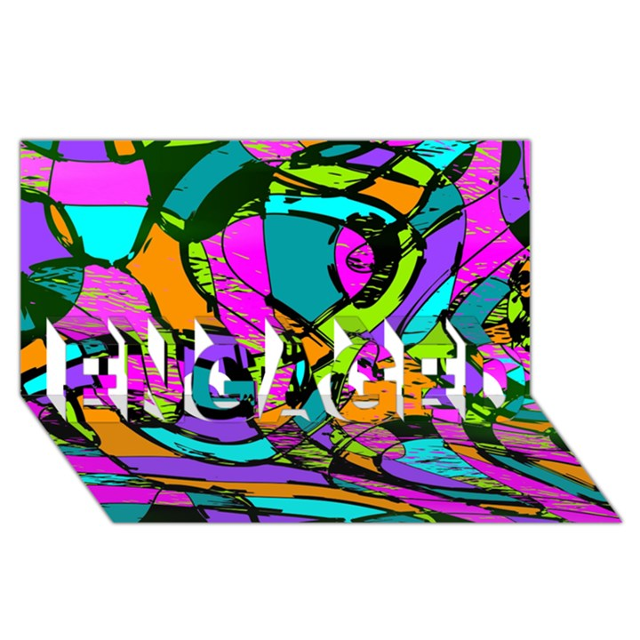 Abstract Sketch Art Squiggly Loops Multicolored ENGAGED 3D Greeting Card (8x4)