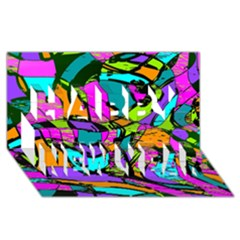 Abstract Sketch Art Squiggly Loops Multicolored Happy New Year 3d Greeting Card (8x4) by EDDArt