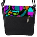 Abstract Sketch Art Squiggly Loops Multicolored Flap Messenger Bag (S) View1