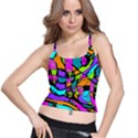 Abstract Sketch Art Squiggly Loops Multicolored Spaghetti Strap Bra Top View1