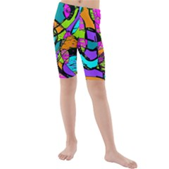 Abstract Sketch Art Squiggly Loops Multicolored Kids  Mid Length Swim Shorts