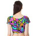 Abstract Sketch Art Squiggly Loops Multicolored Short Sleeve Crop Top (Tight Fit) View2