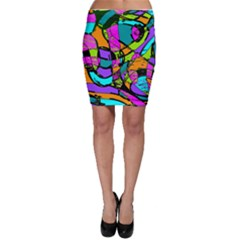 Abstract Sketch Art Squiggly Loops Multicolored Bodycon Skirt