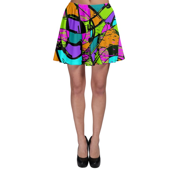 Abstract Sketch Art Squiggly Loops Multicolored Skater Skirt