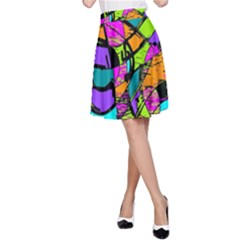 Abstract Sketch Art Squiggly Loops Multicolored A Line Skirt