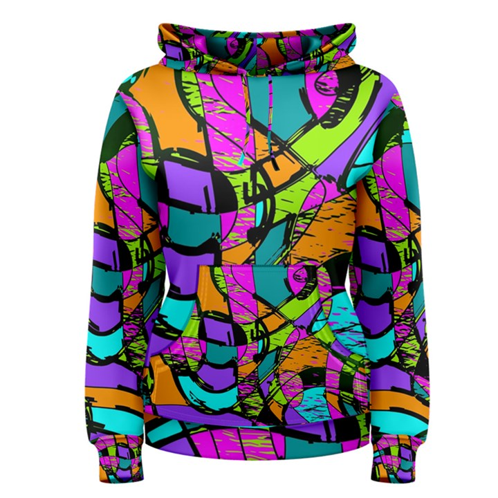 Abstract Sketch Art Squiggly Loops Multicolored Women s Pullover Hoodie