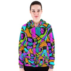 Abstract Sketch Art Squiggly Loops Multicolored Women s Zipper Hoodie by EDDArt