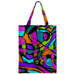 Abstract Sketch Art Squiggly Loops Multicolored Zipper Classic Tote Bag