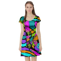 Abstract Sketch Art Squiggly Loops Multicolored Short Sleeve Skater Dress